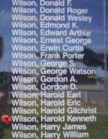 Memorial– Pilot Officer Harold Kenneth Wilson is also commemorated on the Bomber Command Memorial Wall in Nanton, AB … photo courtesy of Marg Liessens