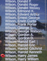 Memorial– Flying Officer Harry James Wilson is also commemorated on the Bomber Command Memorial Wall in Nanton, AB … photo courtesy of Marg Liessens