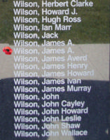 Memorial– Warrant Officer Class II James Archibald Wilson is also commemorated on the Bomber Command Memorial Wall in Nanton, AB … photo courtesy of Marg Liessens