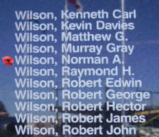 Memorial– Pilot Officer Norman Andison Wilson is also commemorated on the Bomber Command Memorial Wall in Nanton, AB … photo courtesy of Marg Liessens