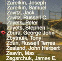 Memorial– Flying Officer George John Zbura is also commemorated on the Bomber Command Memorial Wall in Nanton, AB … photo courtesy of Marg Liessens