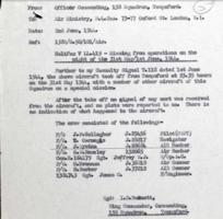 Document– Loss report for Halifax B Mk.V LL419 of 138 Sqd RAF.