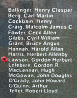 Memorial– Flying Officer Gordon Herbert Lawson is also commemorated on the Bomber Command Memorial Wall in Nanton, AB … photo courtesy of Marg Liessens