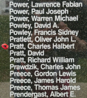 Memorial– Warrant Officer Class I Charles Halbert Pratt is also commemorated on the Bomber Command Memorial Wall in Nanton, AB … photo courtesy of Marg Liessens