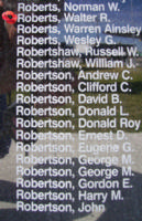 Memorial– Flight Sergeant Walter Raymond Roberts is also commemorated on the Bomber Command Memorial Wall in Nanton, AB … photo courtesy of Marg Liessens