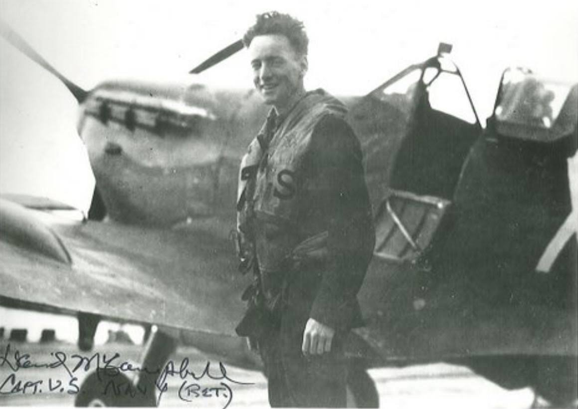 Photo of Jerrold Alpine Smith– After his landing on USS Wasp. He had full authorization from the ship's captain to land his plane.  This photo was shared by the family of Jerry Smith on October 17, 2016.