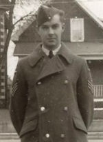 Photo of Frederick Albert Duquette– Frederick Albert Duquette at family home on McIntyre St. in North Bay, Ontario on leave November 1941.