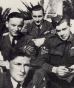 Group Photo– Frederick Albert Duquette with squadron members in Malta square, 1942.