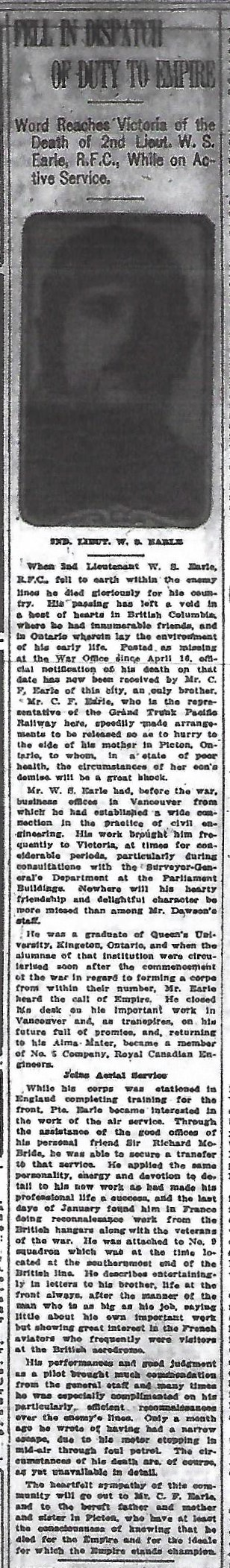 Newspaper clipping– from the daily Colonist of April 23, 1916. Image taken from web address of https://archive.org/stream/dailycolonist58y115uvic#mode/1up