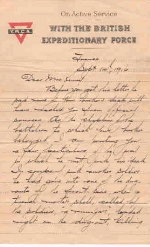 Page 1 of letter from Captain H. B. Clark– This is a letter from a comrade to Oliver's eldest sister from the front. It is the first of four pages.