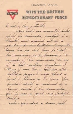 Page 2 of letter from Captain H. B. Clark– Page 2 of 4.  Letter from Captain H. B. Clark 38th Battalion C.E.F., France.