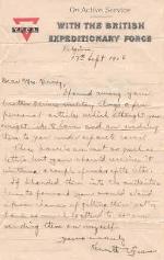 Letter from Kenneth Green– Letter from Kenneth Green to Mrs. Kenney, Oliver's eldest sister.