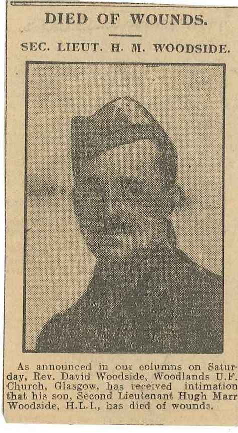 Newspaper Clipping– This is a picture of Hugh Marr Woodside informing of his death.