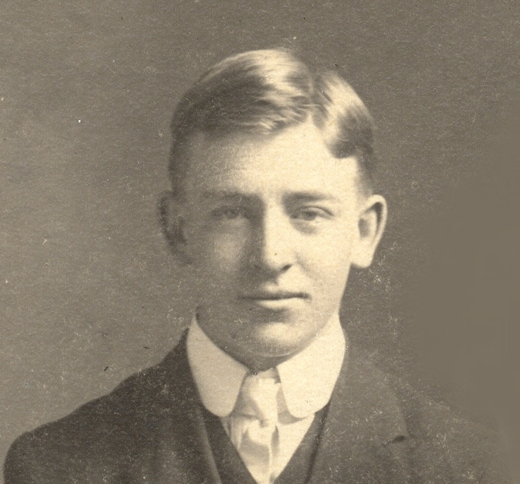 Photo of David Walsh– David Edward Walsh (Nov. 11, 1890 - Nov. 11, 1915). Moved from St. John's, NL to Alberta in 1913 to homestead. Killed by a sniper in Belgium.