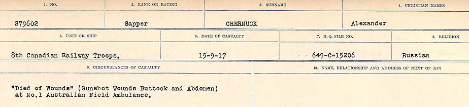 Circumstances of Death Registers– Source: Library and Archives Canada.  CIRCUMSTANCES OF DEATH REGISTERS, FIRST WORLD WAR Surnames:  Catchpole to Chignell. Microform Sequence 19; Volume Number 31829_B016728. Reference RG150, 1992-93/314, 165. Page 875 of 958.