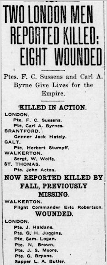 Newspaper clipping– From the London Free Press September 1917. Submitted for the project Operation Picture Me
