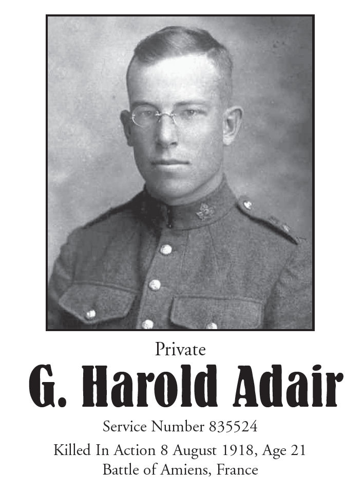 Memorial Page– George H. Adair is honoured on page 94 of the Gananoque Remembers booklet, published on January 31, 2005.