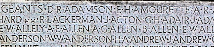 Inscription– His name as it is inscribed on the Vimy Memorial. Over 11,000 fallen Canadians having no known place of burial in France, are honoured on this Memorial. May they never be forgotten. (J. Stephens)