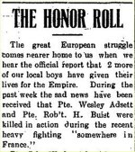 Honour Roll– Clipping from the Munson Mail for 19 October 1916.