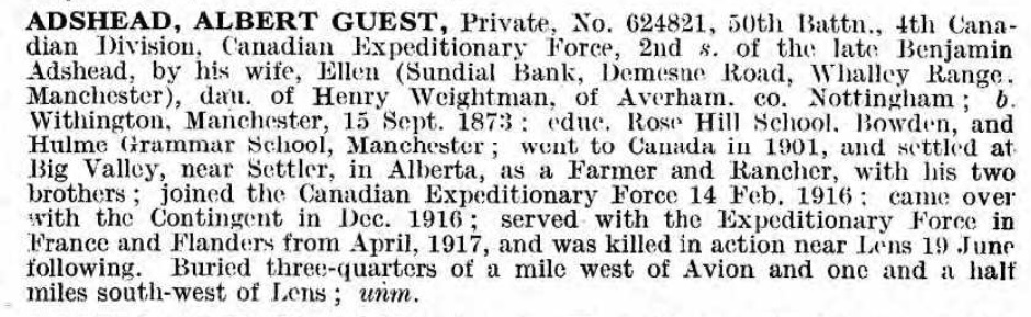 Biography– Bio from De Ruvigny's Roll of Honour, 1914-1919
