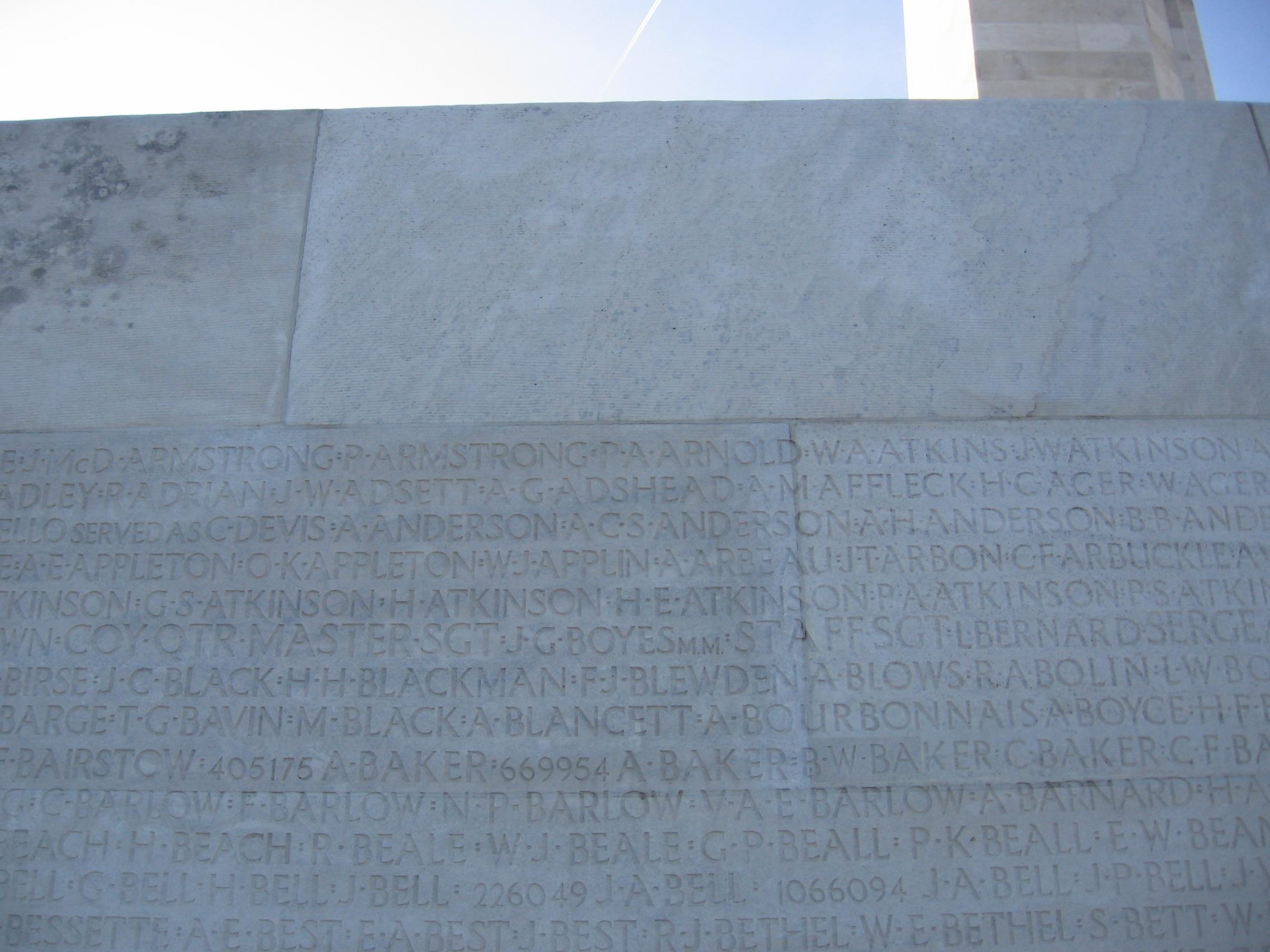 Inscription– Inscription on Vimy Ridge Memorial