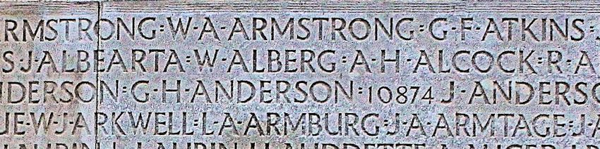 Inscription– His name as it is inscribed on the Vimy Memorial. Over 11,000 fallen Canadians having no known place of burial in France, are honoured on this Memorial. May they never be forgotten. (J. Stephens).