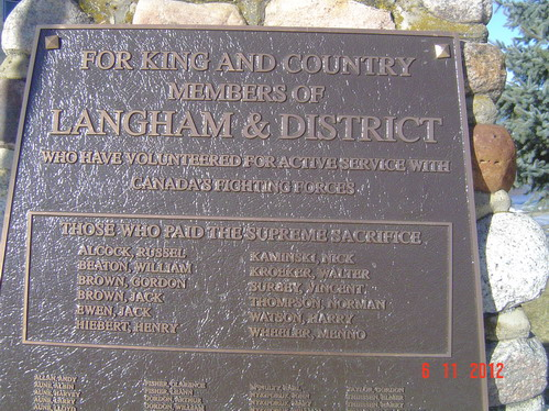 Memorial Plaque– Langham and District Cenotaph, courtesy of Kenora Great War Project