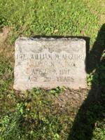 Grave marker– Grave stone of Private William M. Alguire located in Berwick Cemetary, Berwick, Ontario.