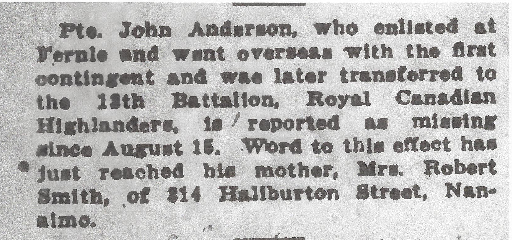 Newspaper clipping– From the Daily Colonist of September 9, 1917. Image taken from web address of http://archive.org/stream/dailycolonist59y235uvic#page/n0/mode/1up