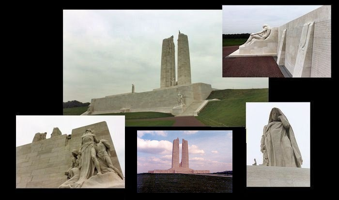 Memorial– Canada's Vimy Memorial, located approximately 8 kilometres to the north-east of Arras, France. May the sacrifice of so many never be forgotten. (J. Stephens)