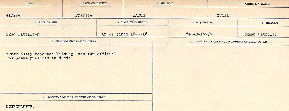 Circumstances of Death Registers– Source: Library and Archives Canada.  CIRCUMSTANCES OF DEATH REGISTERS, FIRST WORLD WAR Surnames:  Babb to Barjarow. Microform Sequence 5; Volume Number 31829_B016715. Reference RG150, 1992-93/314, 149.  Page 63 of 1072.