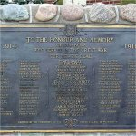 Memorial Plaque– Details of names on the Waterdown Ontarion WWI Memorial Plaque. The central column represents the war dead, and the other names are from the Roll of Service.