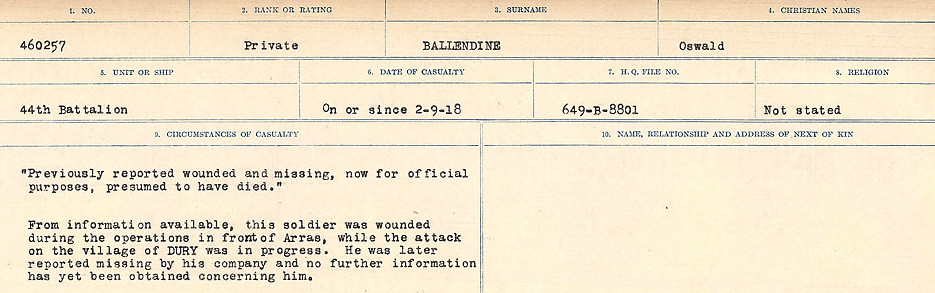 Circumstances of Death Registers– Source: Library and Archives Canada.  CIRCUMSTANCES OF DEATH REGISTERS, FIRST WORLD WAR Surnames:  Babb to Barjarow. Microform Sequence 5; Volume Number 31829_B016715. Reference RG150, 1992-93/314, 149.  Page 783 of 1072.