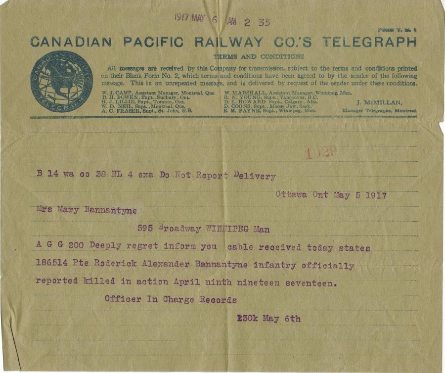 Telegram– Telegram to Mother Mary Bannatyne