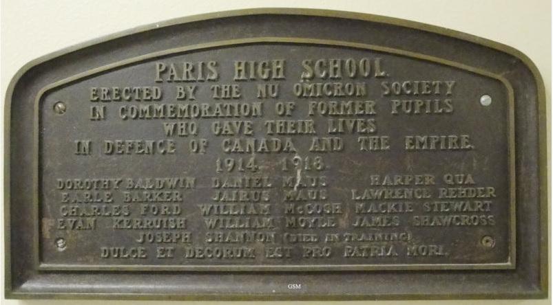 Memorial– Paris District High School First World War Memorial Plaque Paris Ontario