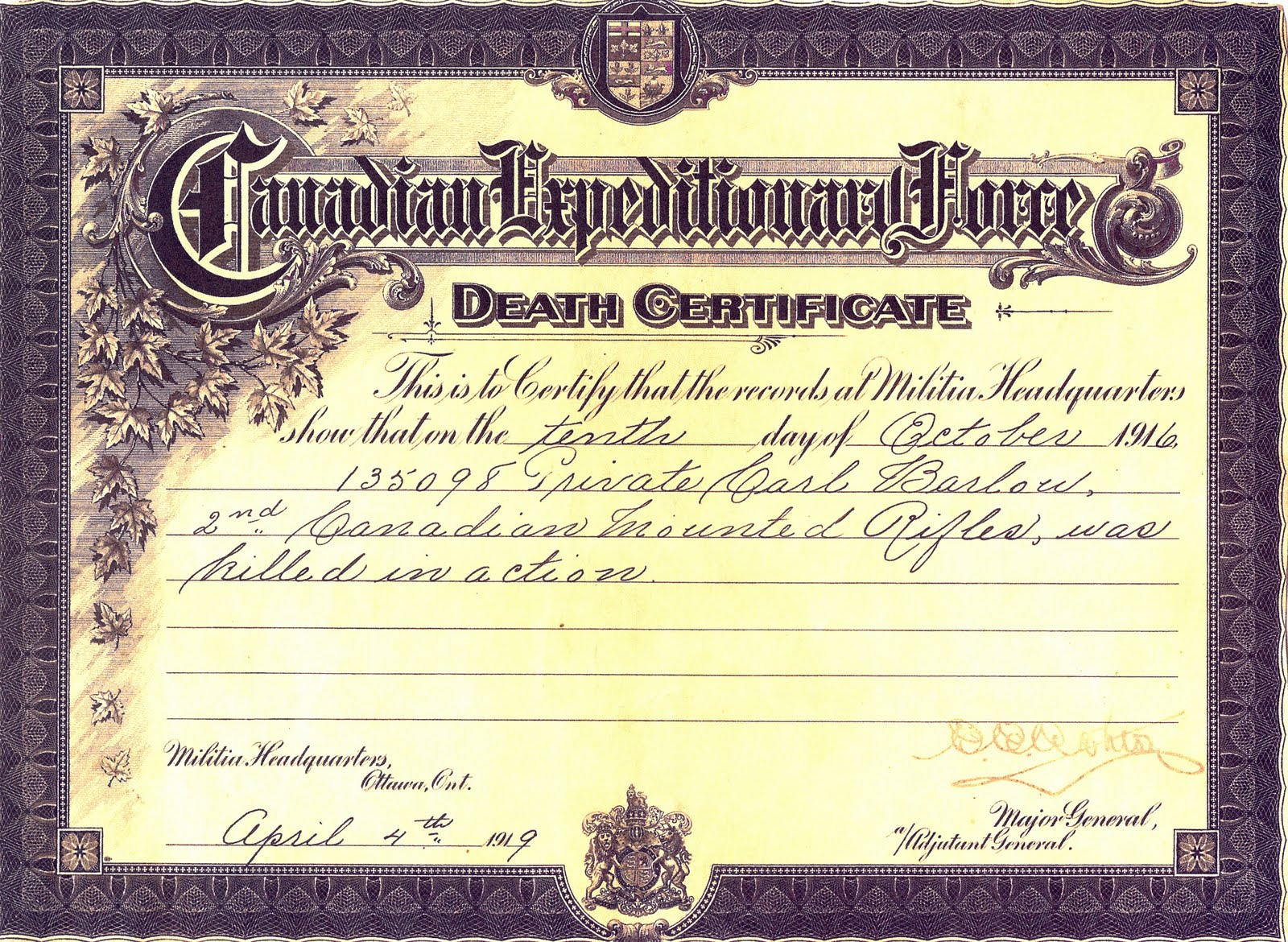 Death Certificate– Carl Barlow on left and Robert Barlow on right. Submitted for the project, Operation: Picture Me