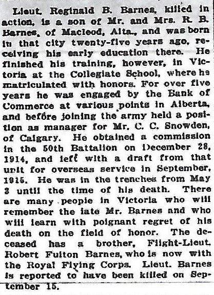 Newspaper clipping– From the Daily Colonist of October 11, 1916. Image taken from web address of https://archive.org/details/dailycolonist58y261uvic/mode/1up?view=theater
