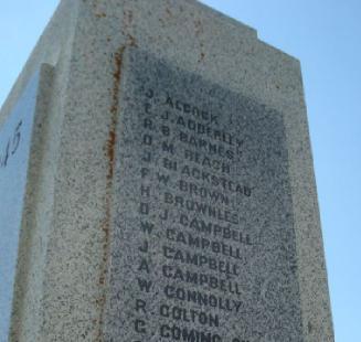 Inscription– Panel detail of the MacLeod, Alberta War Memorial  via Marika Pirie post at the CEFSG.
