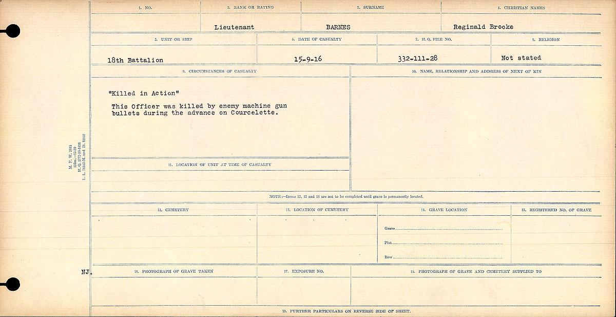 Circumstance of death– Circumstances of Death card for Lieutenant Reginald Brooke Barnes.