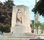 "Galt War Memorial– The Cambridge (Galt) War Memorial, Queen's Square, Cambridge, Ontario.  Circa 1930. Frances Loring and William Lyon Somerville.  Inscribed:""TO THEM ALL HONOUR / GUARD YE THEIR VICTORY / 1914-1918 / 1939-1945 / 1950-1953."""