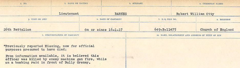 Circumstances of Death– Source: Library and Archives Canada.  CIRCUMSTANCES OF DEATH REGISTERS, FIRST WORLD WAR Surnames:  Bark to Bazinet. Mircoform Sequence 6; Volume Number 31829_B016716. Reference RG150, 1992-93/314, 150.  Page 239 of 1058.