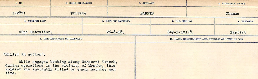 Circumstances of Death– Source: Library and Archives Canada.  CIRCUMSTANCES OF DEATH REGISTERS, FIRST WORLD WAR Surnames:  Bark to Bazinet. Mircoform Sequence 6; Volume Number 31829_B016716. Reference RG150, 1992-93/314, 150.  Page 241 of 1058.