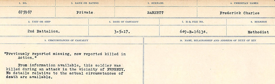 Circumstances of Death Registers– Source: Library and Archives Canada.  CIRCUMSTANCES OF DEATH REGISTERS, FIRST WORLD WAR Surnames:  Bark to Bazinet. Mircoform Sequence 6; Volume Number 31829_B016716. Reference RG150, 1992-93/314, 150.  Page 277 of 1058.