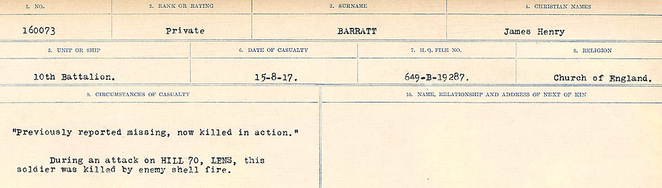Circumstances of Death– Source: Library and Archives Canada.  CIRCUMSTANCES OF DEATH REGISTERS, FIRST WORLD WAR Surnames:  Bark to Bazinet. Mircoform Sequence 6; Volume Number 31829_B016716. Reference RG150, 1992-93/314, 150.  Page 397 of 1058.