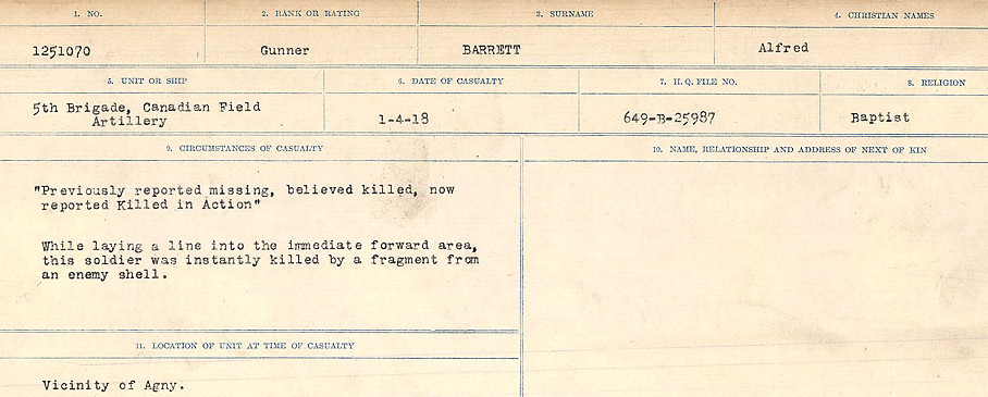 Circumstances of Death– Source: Library and Archives Canada.  CIRCUMSTANCES OF DEATH REGISTERS, FIRST WORLD WAR Surnames:  Bark to Bazinet. Mircoform Sequence 6; Volume Number 31829_B016716. Reference RG150, 1992-93/314, 150.  Page 411 of 1058.