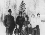 Family photo– The Barrett family. Photo taken at Evansburg, Alberta before Anthony left for the war. His wife was pregnant with another child, born after he was killed.