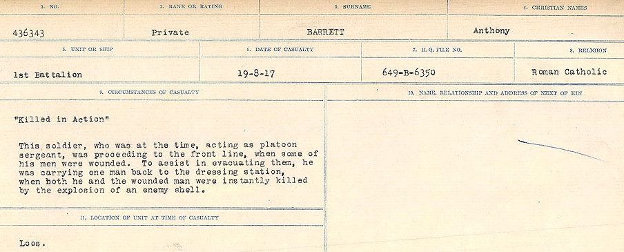 Circumstances of Death– Source: Library and Archives Canada.  CIRCUMSTANCES OF DEATH REGISTERS, FIRST WORLD WAR Surnames:  Bark to Bazinet. Mircoform Sequence 6; Volume Number 31829_B016716. Reference RG150, 1992-93/314, 150.  Page 415 of 1058.