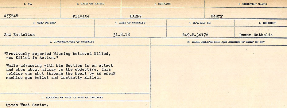 Circumstances of Death– Source: Library and Archives Canada.  CIRCUMSTANCES OF DEATH REGISTERS, FIRST WORLD WAR Surnames:  Bark to Bazinet. Mircoform Sequence 6; Volume Number 31829_B016716. Reference RG150, 1992-93/314, 150.  Page 523 of 1058.