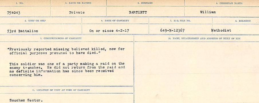 Circumstances of Death Registers– Source: Library and Archives Canada.  CIRCUMSTANCES OF DEATH REGISTERS, FIRST WORLD WAR Surnames:  Bark to Bazinet. Mircoform Sequence 6; Volume Number 31829_B016716. Reference RG150, 1992-93/314, 150.  Page 621 of 1058.
