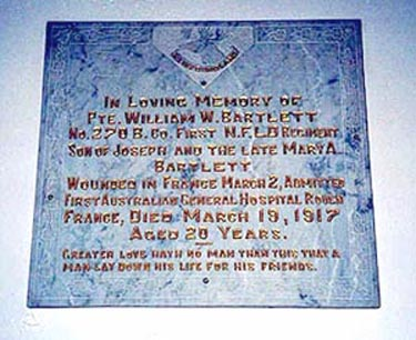 Memorial– Pte William Bartlett, St Georges Anglican,